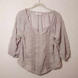 Abercrombie & Fitch Sheer Embroidered Blouse S